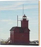 Holland Harbor Lighthouse Wood Print by Jennifer  King