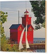 Holland Lighthouse Wood Print