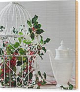 Holly And Berries Birdcage Wood Print