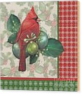 Holly And Berries-d Wood Print