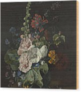 Hollyhocks And Other Flowers In A Vase Wood Print