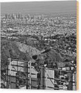 Hollywood And Los Angeles City Skyline Wood Print