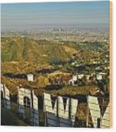 Hollywood And The Los Angeles City Skyline Wood Print