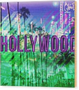 Hollywood Day And Night Wood Print