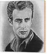 Hollywood Greats James Dean Wood Print by Andrew Read