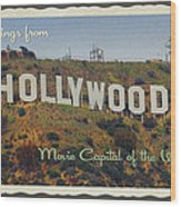 Hollywood Postcard Wood Print