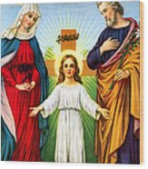 Holy Family With Cross Wood Print