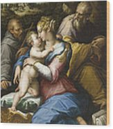 Holy Family With Saint Francis In A Landscape Wood Print