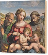 Holy Family With The Infant St. John The Baptist And St. Francis Wood Print