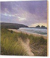 Holywell Bay Spectacular Sunset Wood Print