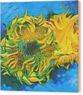 Homage To Dear Master Van Gogh Two Cut Sunflowers Wood Print