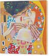 Homage To Master Klimt The Kiss Wood Print