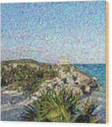 Homage To Vincent Had He Only Seen Cozumel II Wood Print by Judy Paleologos
