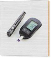 Home Blood Sugar Test Kit Wood Print