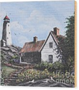 Home By Lighthouse Wood Print