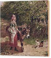 Home From Market Wood Print by Edgar Bundy