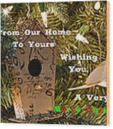 Home In The Tree W Text Wood Print