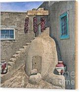 Home On Taos Pueblo Wood Print by Sandra Bronstein