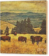 Home On The Range Wood Print by Lianne Schneider