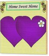 Home Sweet Home Purple Hearts 1 Wood Print