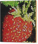 Homegrown Strawberry Mosaic Wood Print