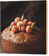 Homemade Rich Fruit Cake Wood Print