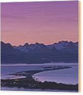 Homer Spit Sunset Kenai Mtns Kenai Wood Print