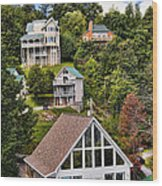Homes On Mt. Harrison-smoky Mountains Gatlinburg Tennesse Wood Print
