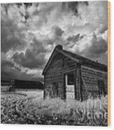 Homestead Under Stormy Sky Wood Print