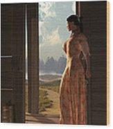 Homestead Woman Wood Print