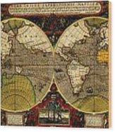 Hondius Map Of The World 1595 Wood Print