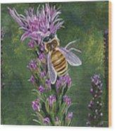 Honeybee On Liatis Wood Print
