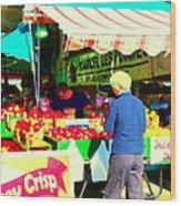 Honeycrisp Apples Fruit Stand Marcel Les Pommes St Joseph Du Lac  Food Art Scenes Carole Spandau Wood Print