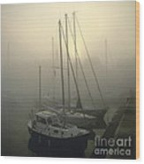 Honfleur Harbour In Fog. Calvados. Normandy Wood Print