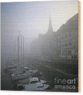 Honfleur Harbour In Fog. Calvados. Normandy. France. Europe Wood Print by Bernard Jaubert