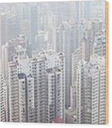 Hong Kong City In The Mist Wood Print