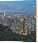 Hong Kong From Sky Terrace 428 At Victoria Peak Wood Print