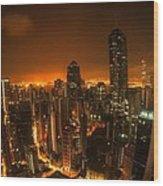 Hong Kong Gotham Wood Print