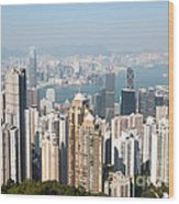 Hong Kong Harbor From Victoria Peak In A Sunny Day Wood Print by Matteo Colombo