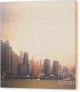 Hong Kong Harbour Sunset Wood Print