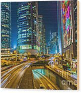 Hong Kong Highway At Night Wood Print