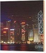 Hong Kong Holiday Skyline Wood Print by Ei Katsumata