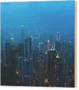 Hong Kong In Foggy Night Wood Print