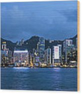 Hong Kong Island Central City Skyline At Blue Hour Wood Print