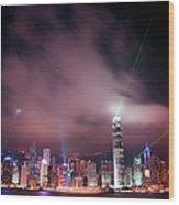 Hong Kong Laser Lights Wood Print