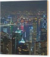 Hong Kong Night Scene Wood Print