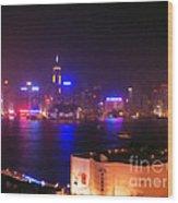 Hong Kong Skyline Wood Print by Pixel  Chimp