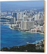 Honolulu And Waikiki From Diamond Head Wood Print