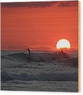 Honolulu At Sundown Wood Print