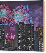 Honolulu Festival Fireworks Wood Print